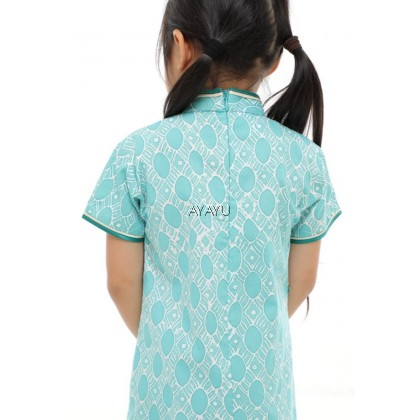 ONGLAI Girls Cheongsam Short Sleeves Green