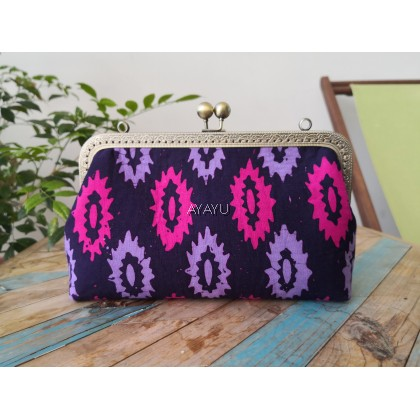 Vintage Clasp Clutch with Sling - PR Sarong Purple - Large